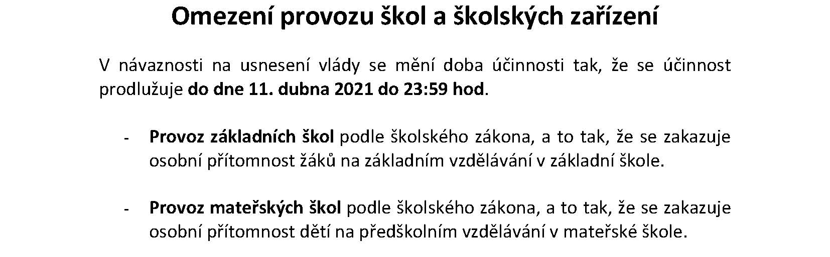 omezeni provozu brezen 2021