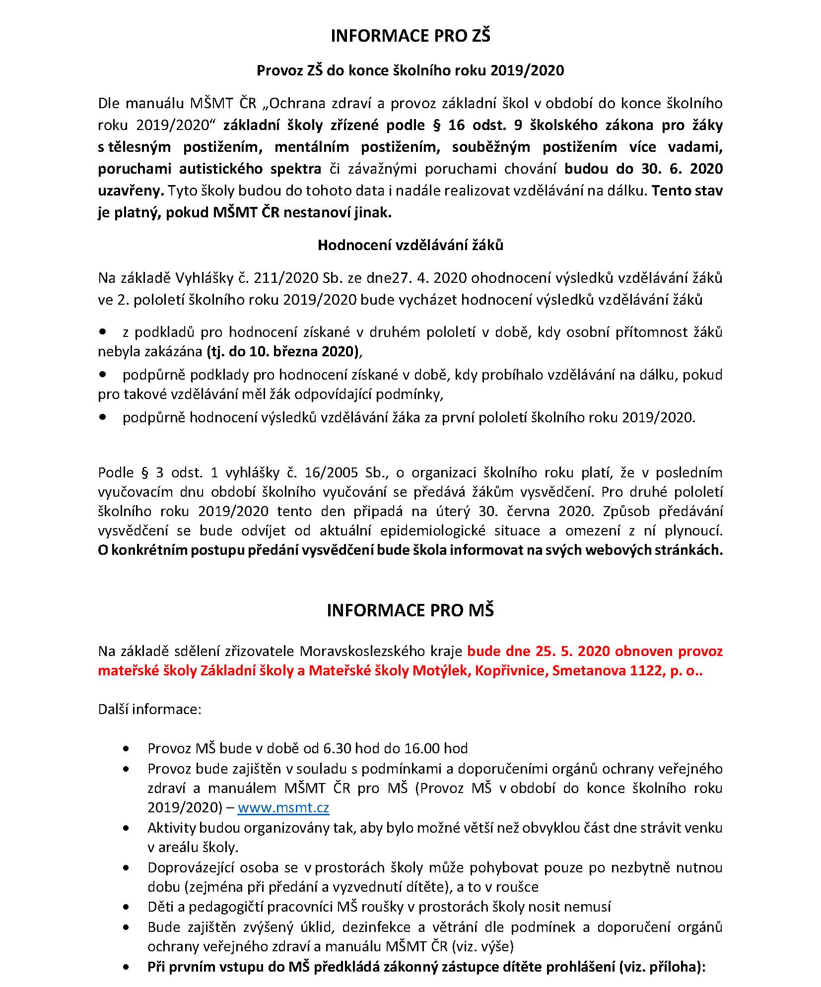 informace covid ms a zs 2020
